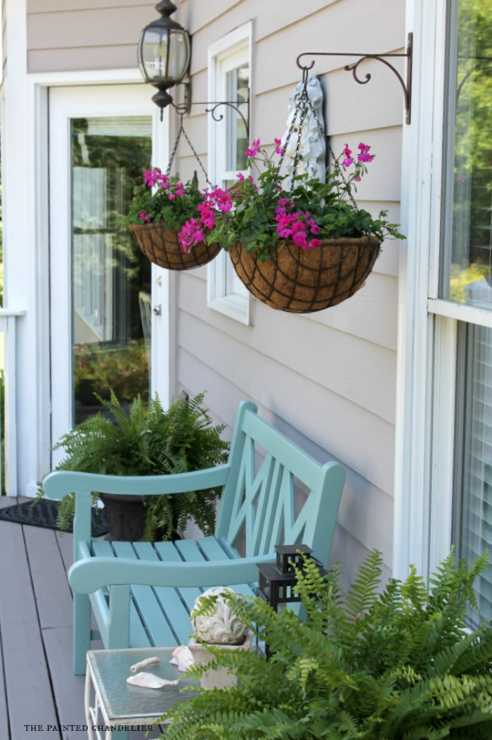 Summer porch makeover the painted chandelier What to hang on front door for decor