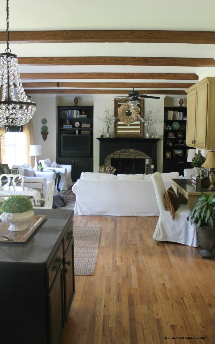 az faux beams kitchen and family room project. Black Bedroom Furniture Sets. Home Design Ideas