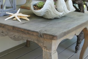 Driftwood Weathered Wood Finish Product Review on a Spring Porch Table